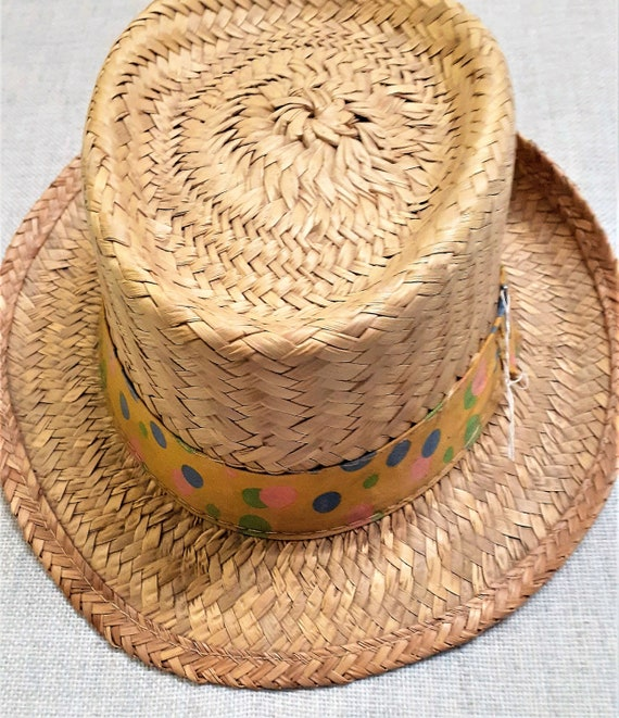 CLEARANCE - Early 60's Pork Pie Straw Mens Hat - … - image 3