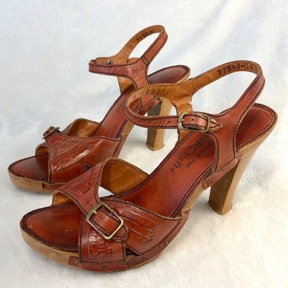 70's Platform Strappy Sandals Sz Vng 7 ( use meas… - image 2