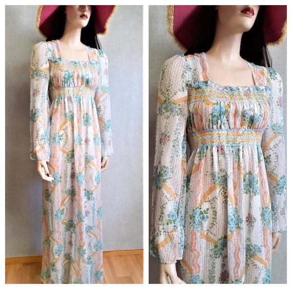 True 60's Hippie Peasant Dress - Boho Summer Sheer