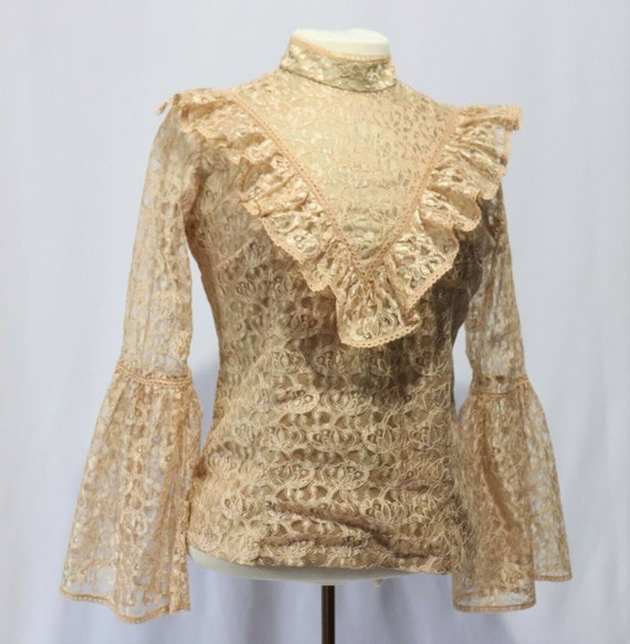 60's Lace Edwardian Romantic Poet Sleeve Blouse -