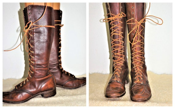 1930's Tall Lace Up Hiking Boots Womens sz 6 - Hi… - image 1