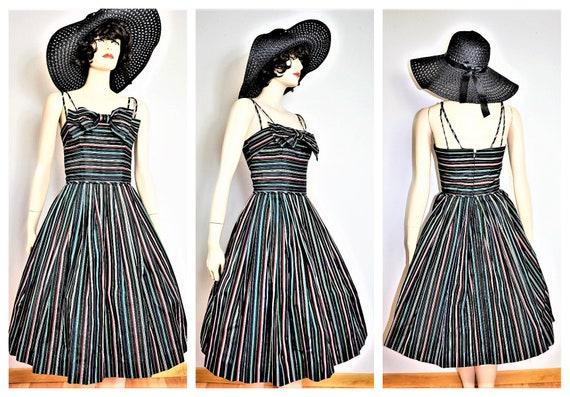 40s Rainbow Silk Halter Dress - 50s Silk Dress -Ca