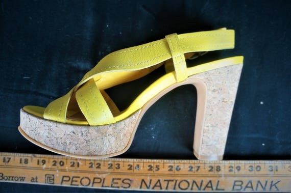 90s Leather Chunky PLATFORM Heels Sz 10 - Importe… - image 4