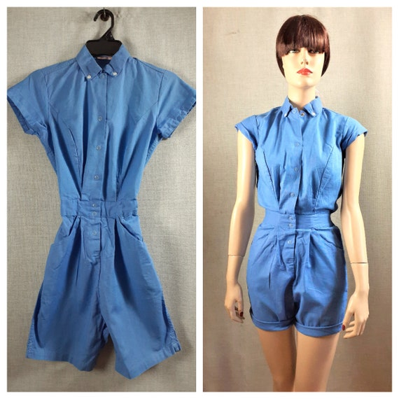 40s - 50s  Cotton Women's Romper - Gymsuit / 50's