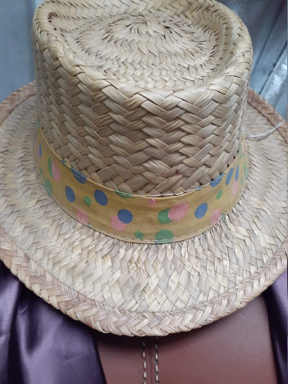 CLEARANCE - Early 60's Pork Pie Straw Mens Hat - … - image 5