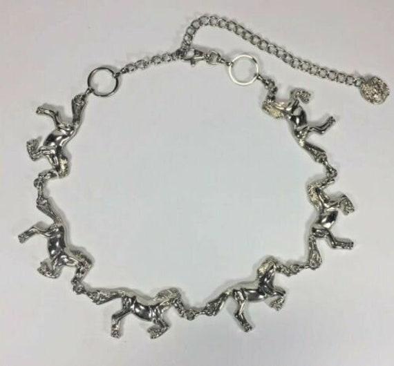 80's Ann Klein Chain Belt - RARE Silver Tone Derby