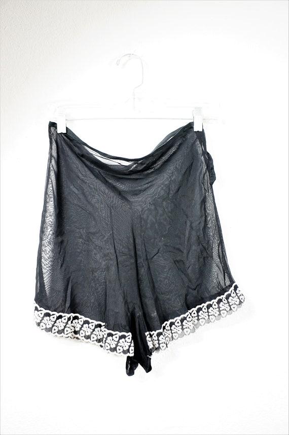 1920's Silk Chemise Tap Pants - Black Sheer Silk U