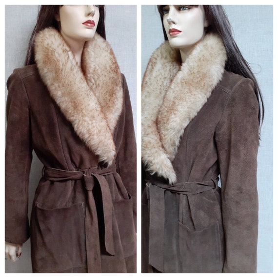 70's Almost Famous Shearling Wrap Coat - Full She… - image 3