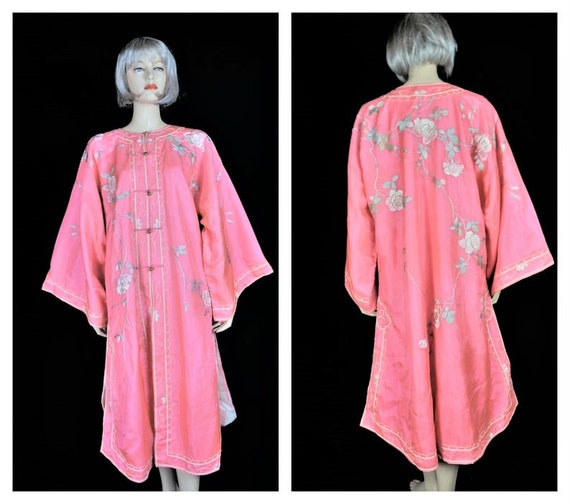 Antique Edwardian French Silk Kimono Robe c: 1904