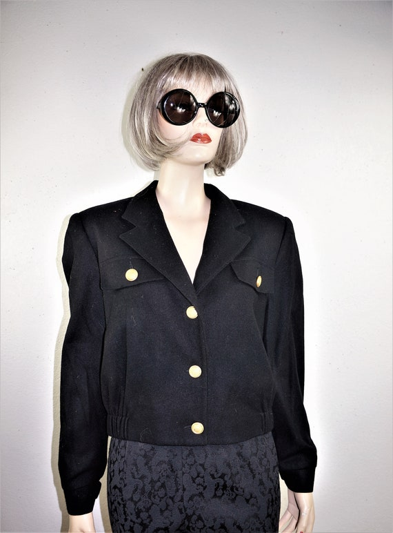 80/'s New Wave Wool Crop Jacket EXCELLENT COND Vng Womens Wool Bomber Jacket 80/'s Black Wool Military Crop Jacket Sz S