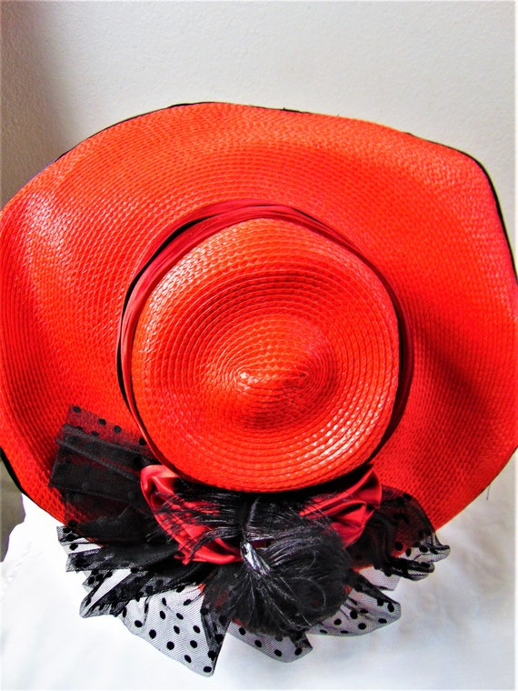 CLEARANCE 80S Does 40's Red Straw Silk Wide Brim … - image 7