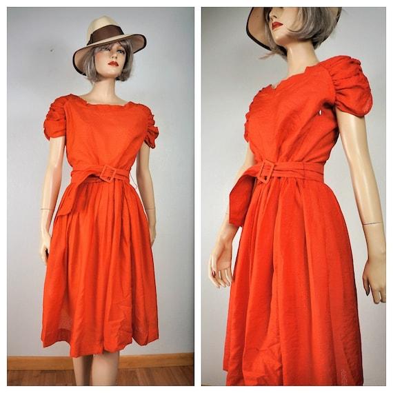 Pin Up Rockabilly Orange Summer Dress - 40's 50s S
