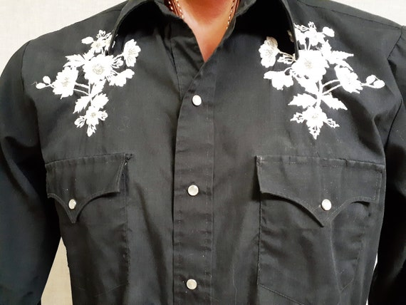 70's Embroidered Western ROCKABILLY Shirt - Vng M… - image 4