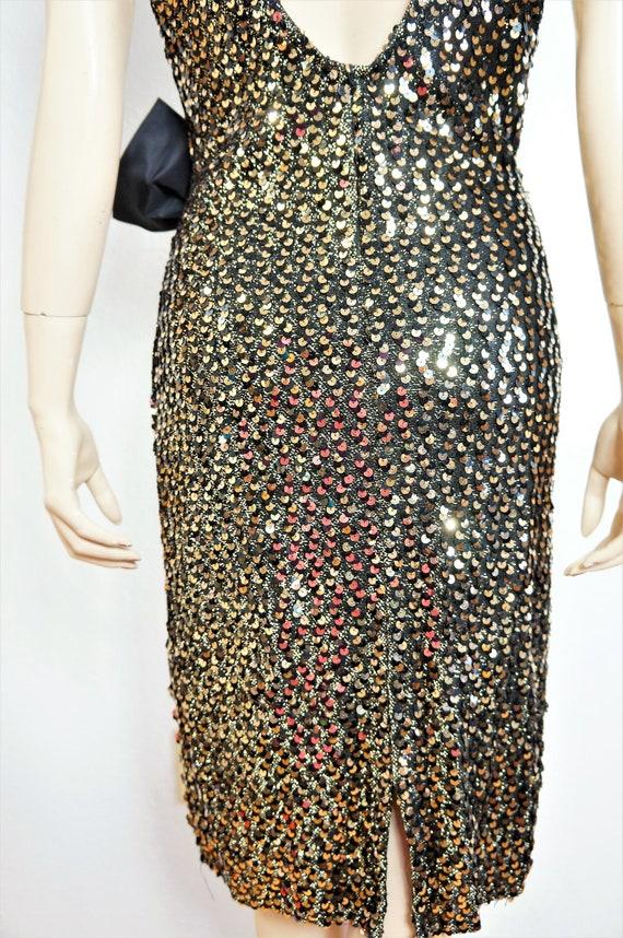 Dress Avant Kid Glamour Sz Sequin Garde Red Dress Club Gold Runway Plunging Dress 80s Cocktail Designer L M Carpet Sequin Vintage 5UgqYww