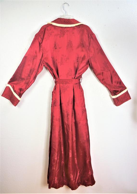 1940's Elegant Wine Robe Sz Small  / 40s Vintage … - image 3