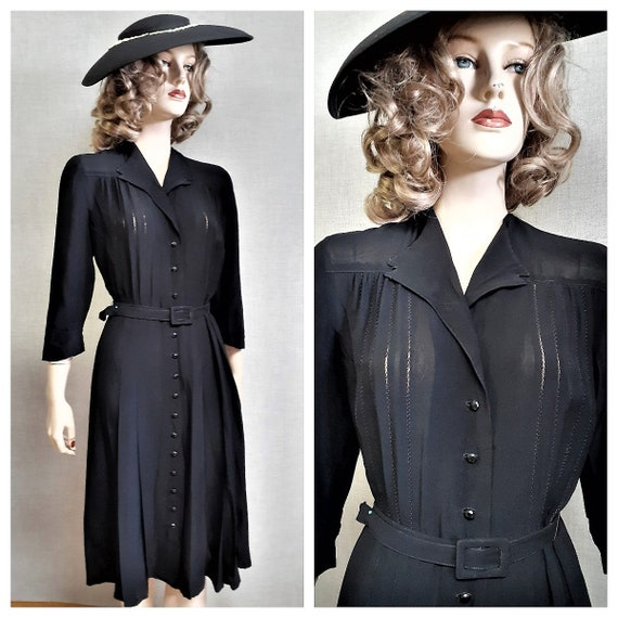 40s Crepe Pleated Dress - 40s Black Rayon Crepe Bu