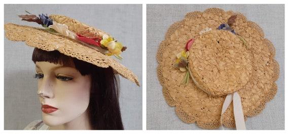 Edwardian Basket Weave Straw Tilt Hat AMAZING! 190