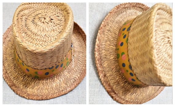 Early 60's Pork Pie Straw Mens Hat - 50's 60's Men