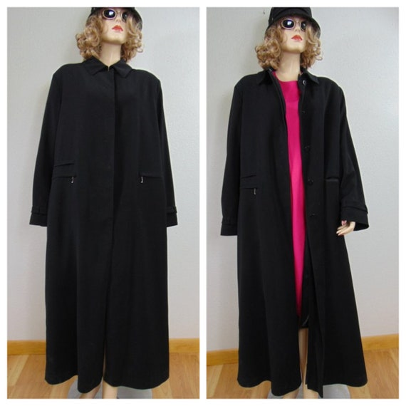 b897969301968 80's Minimalist Black Over-sized Extra Long Coat Vng | Etsy