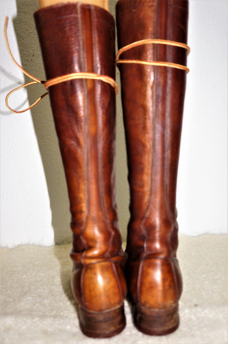 8cd760bf985 Vng Hippie Tall Lace Up Granny Boots -Edwardian Women's Hiking Boots -  1920's Tall Prairie Boots / Victorian Steampunk Tall Boots