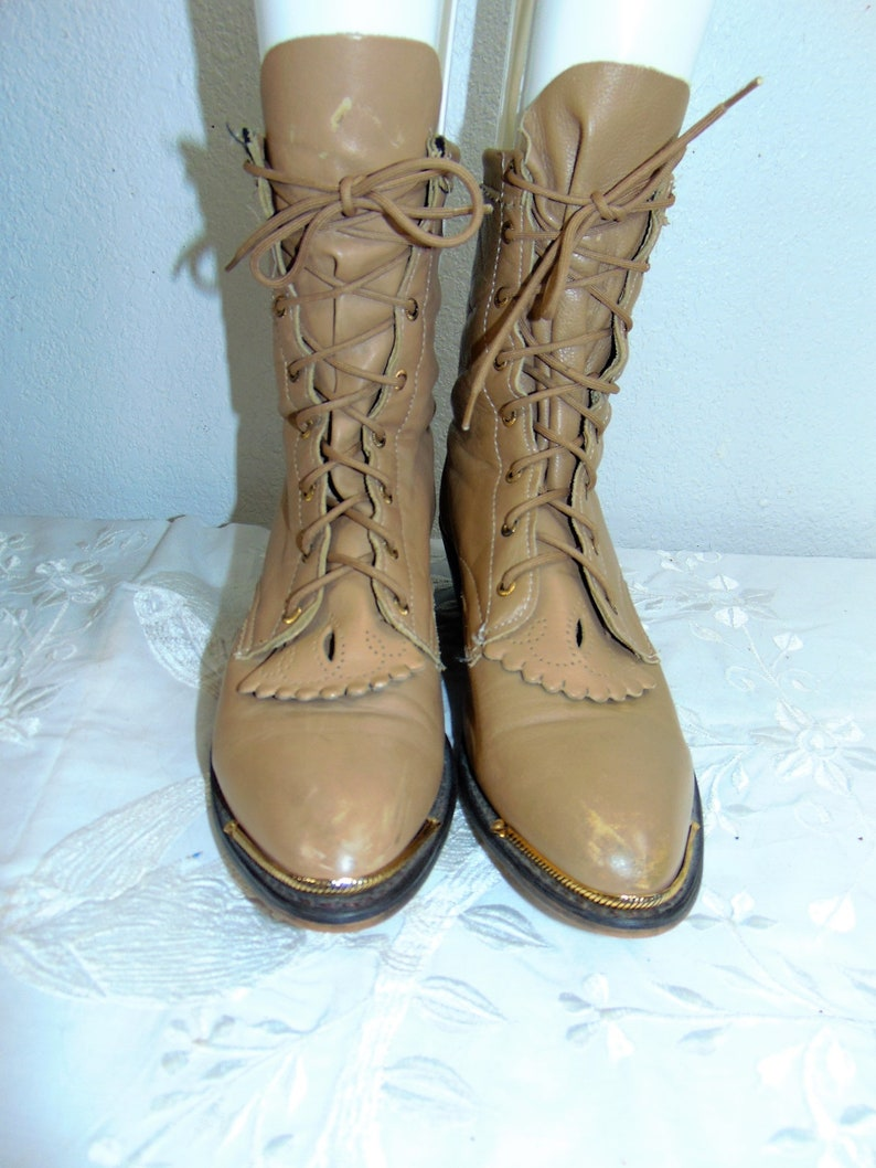 d4ca6885bd9 Vng Lace Up Leather Granny Boots Sz 7.5 M - Barely Worn Custom Made USA  Leather Lace Up Edwardian Boots / Vng Hippie Boots / Vng Calf Boots