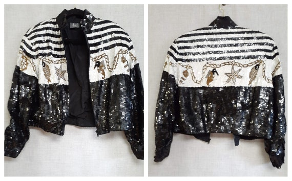 80s Heavily Sequined Silk Bomber Jacket - Modi Seq