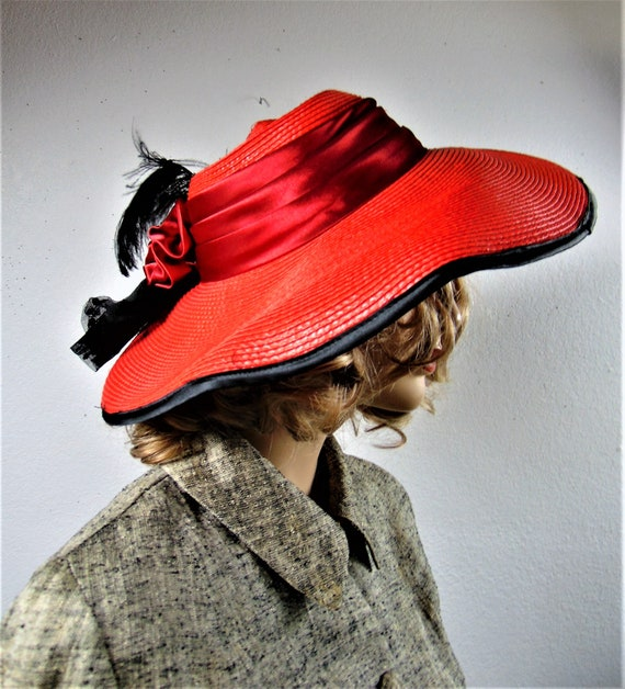 CLEARANCE 80S Does 40's Red Straw Silk Wide Brim … - image 6