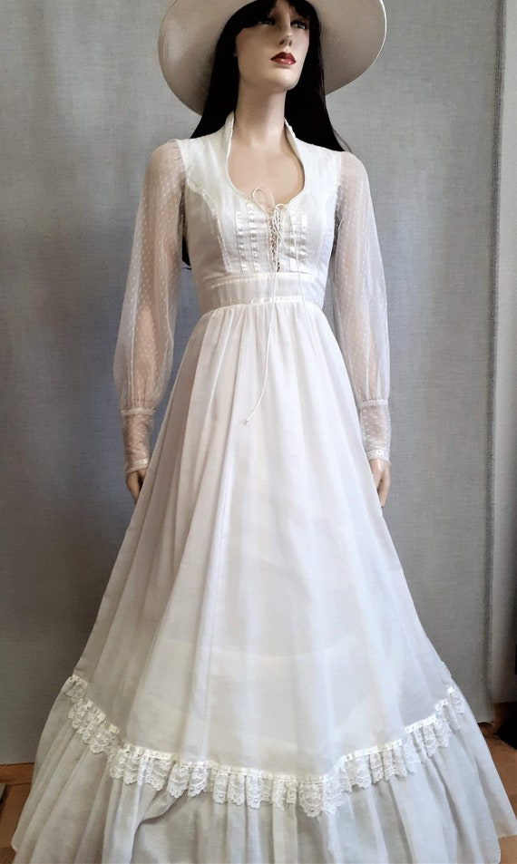 70s Gunne Sax Prairie Wedding Dress - Dead Stock … - image 3