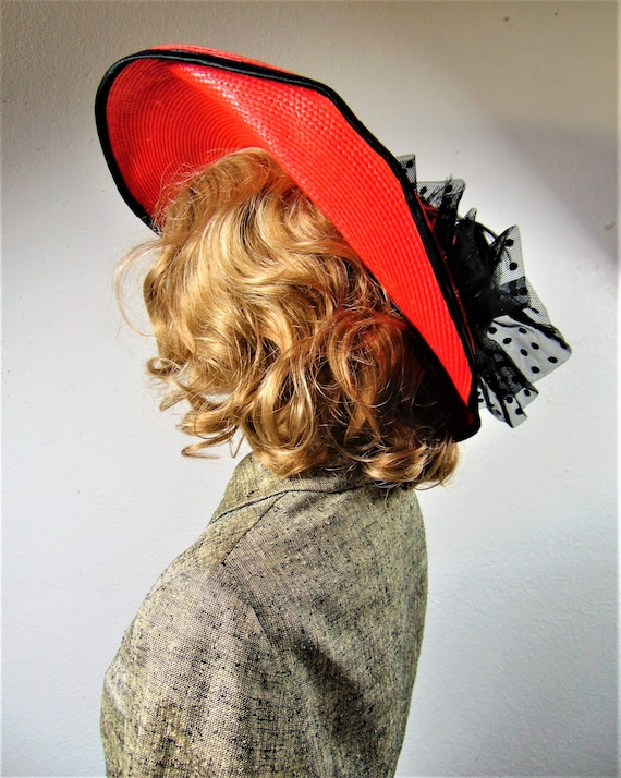 CLEARANCE 80S Does 40's Red Straw Silk Wide Brim … - image 5