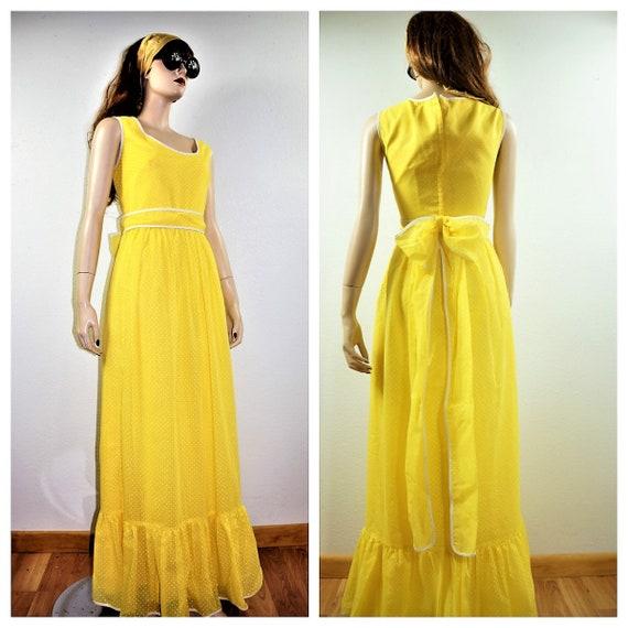 70's Yellow Swiss Dot Maxi Dress DEAD STOCK Size 1