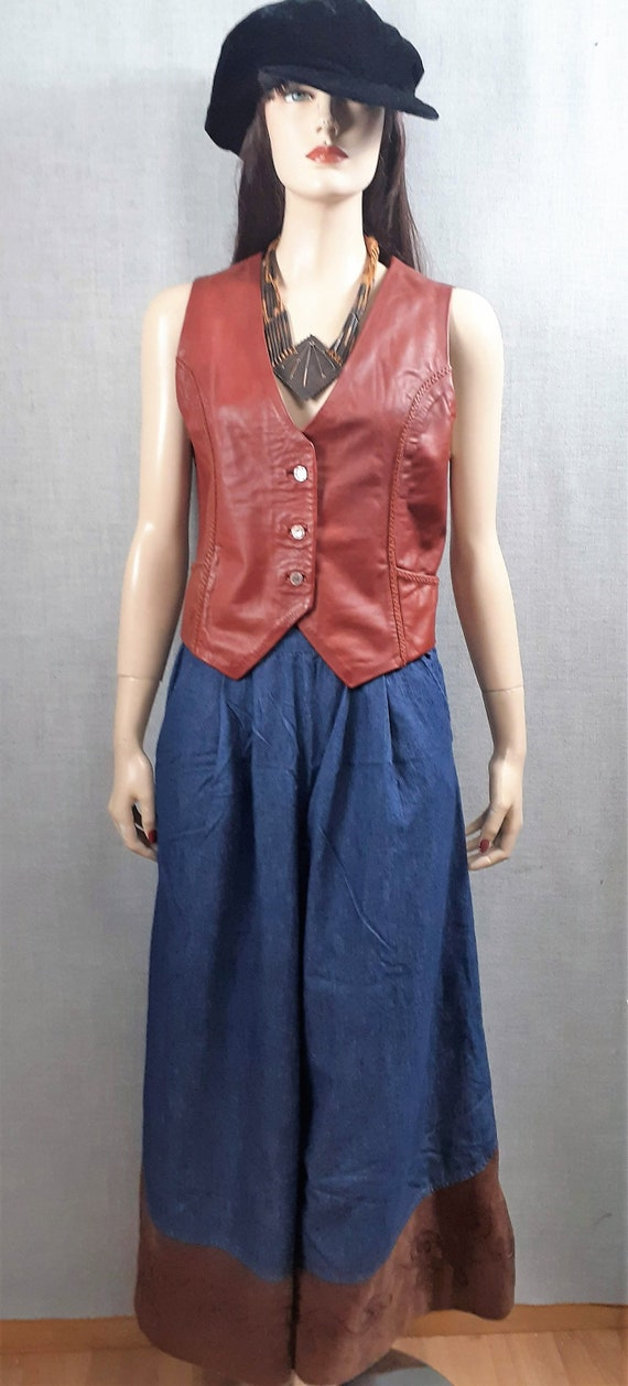 CLEARANCE 70's Denim Suede Wide Leg Pants - 70's … - image 2