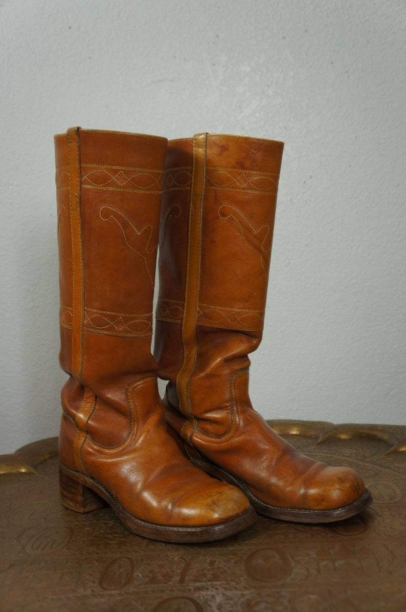 680012b2611 1967 Hippie Boho Boots Sz 8 - 70's Frye Style Embroidered Tall Campus Boots  - Penny Lane Leather Tall Western Boots
