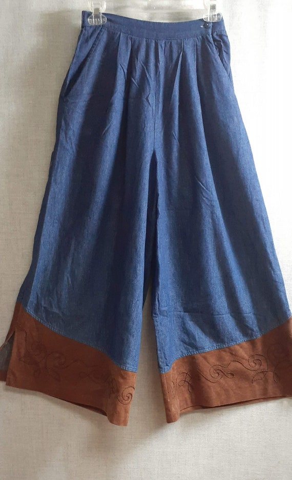 CLEARANCE 70's Denim Suede Wide Leg Pants - 70's … - image 1
