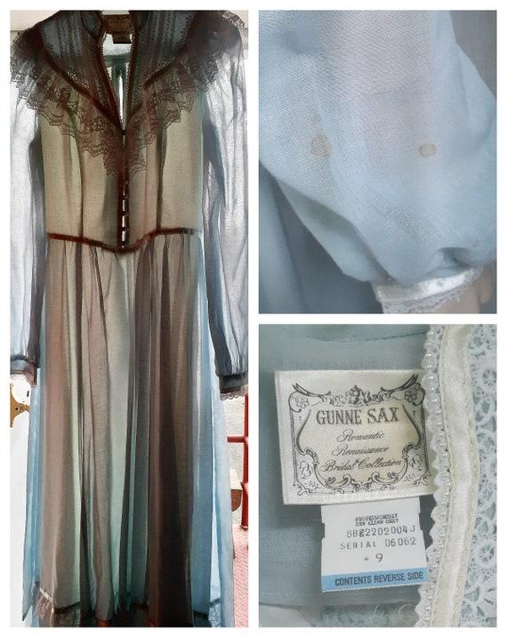 70s Gunne Sax Baby Blue Cottagecore Dress - Dead … - image 7