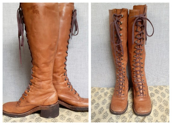 Vng Penny Lane Tall Gum Sole Lace Up Boots Sz 7-7.