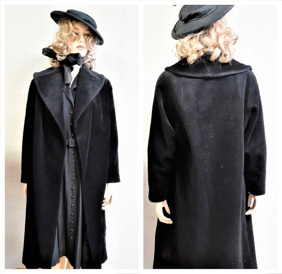 Lilli Ann Paris Black Wool Swing Coat - Early 60's