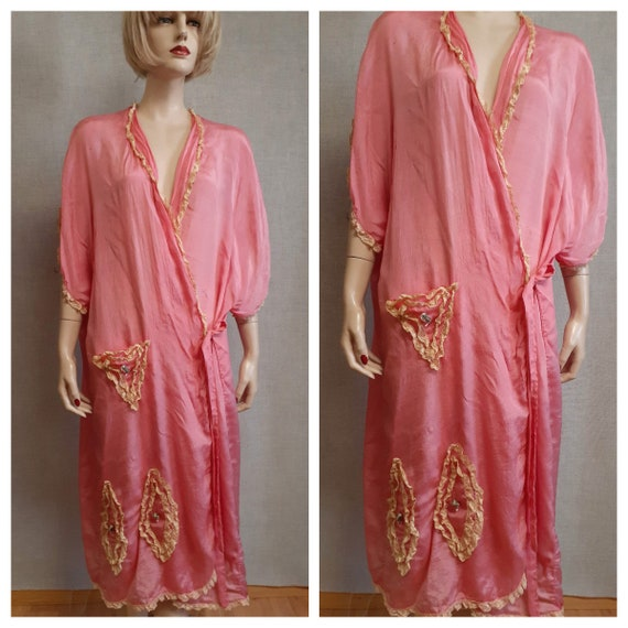 1920's French Trousseau Silk and Lace Dressing Gow