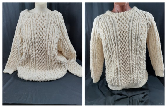 Vintage Hand Knit Wool Fishermans Cable Sweater -G