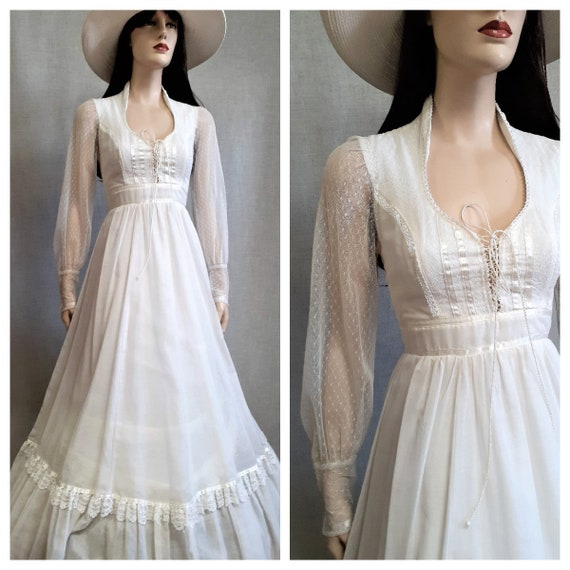 70s Gunne Sax Prairie Wedding Dress - Dead Stock … - image 1