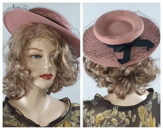 Antique Wool Pink Edwardian Brim Hat - 20s 30's Wo