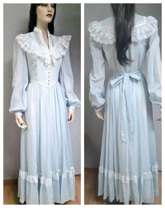 70s Gunne Sax Baby Blue Cottagecore Dress - Dead … - image 1