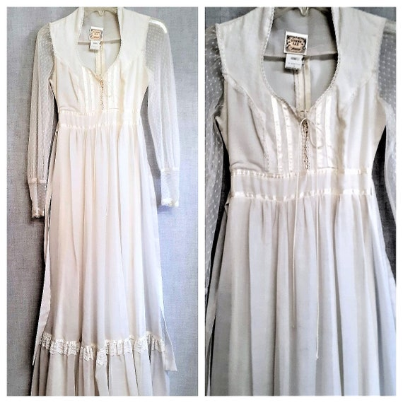70s Gunne Sax Prairie Wedding Dress - Dead Stock … - image 9