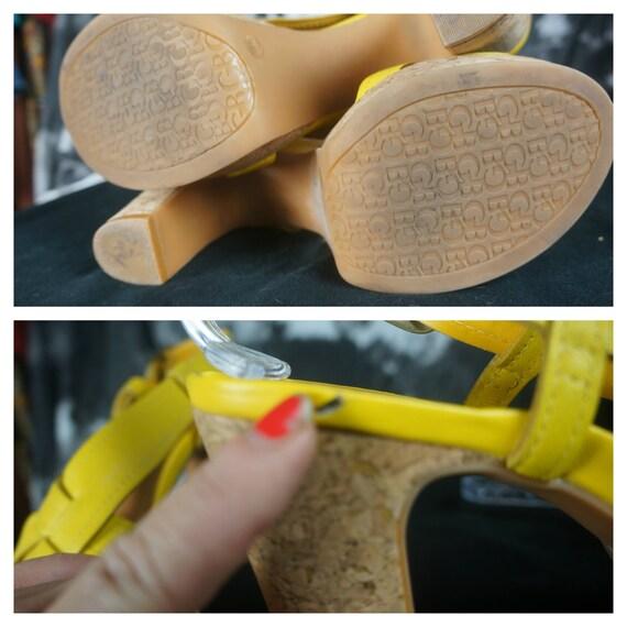 90s Leather Chunky PLATFORM Heels Sz 10 - Importe… - image 5