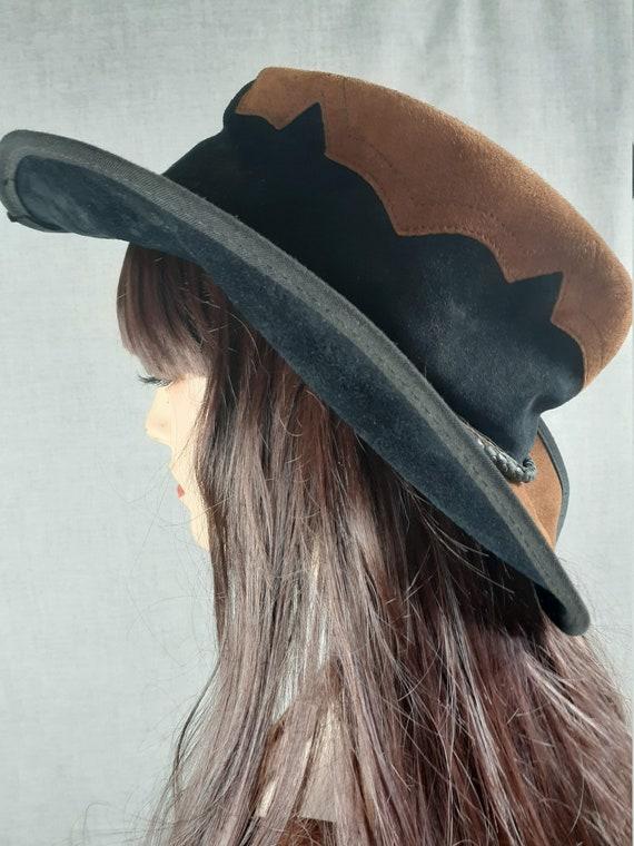 1970's Suede Hippie Rocker Leather Hat - Vng Flopp