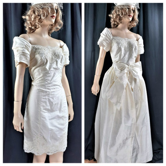 Unworn Custom Made SILK Bridal Gown - 80's Alfred