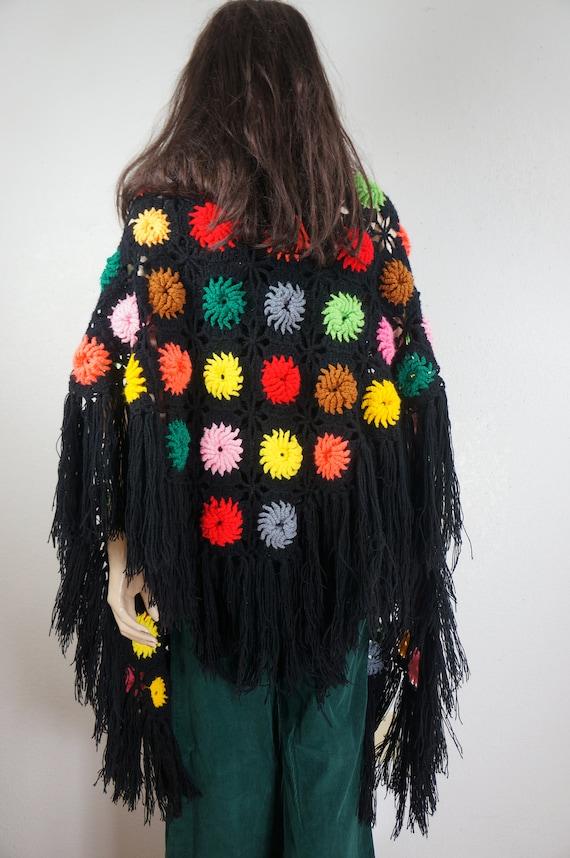 60's Granny Square Hippie Shawl  - Hippie Boho Po… - image 7