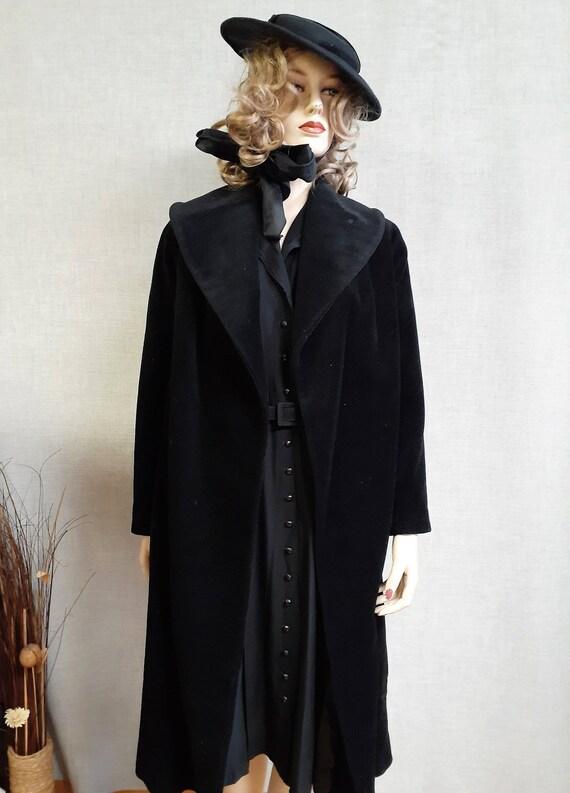 Lilli Ann Paris Black Wool Swing Coat - Early 60'… - image 4
