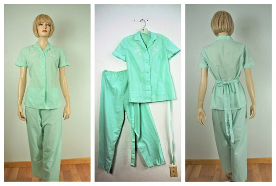 1940s Sheer Embroidered Pajama Set - Unworn Pin Up