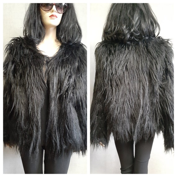 Faux Fur Monkey Fur Coat - Y2K Shaggy Long Fur Bla