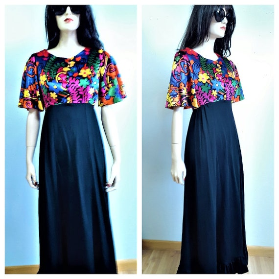 Psychedlic Maxi Dress - 60's Neon Velvet and Jerse